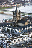View from above on Cologne and Great St. Martin Church. Near river Rhine, Germany Stock Photos