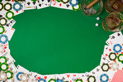 View from above with copy space. Banner template layout mockup for online casino. Green table, top view on workplace. Stock Images