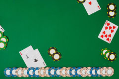 View from above with copy space. Banner template layout mockup for online casino. Green table, top view on workplace. Stock Image
