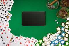 View from above with copy space. Banner template layout mockup for online casino. Green table, top view on workplace. stock illustration