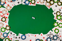View from above with copy space. Banner template layout mockup for online casino. Green table, top view on workplace. Royalty Free Stock Photo