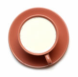 View from above on cup with milk Royalty Free Stock Photos