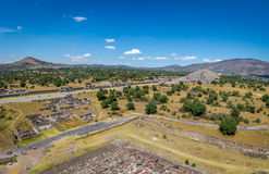 View from above of Dead Avenue and Moon Pyramid at Teotihuacan Ruins - Mexico City, Mexico Stock Photos