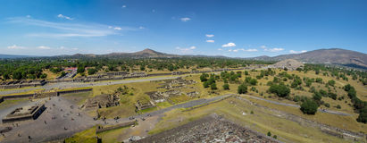 View from above of Dead Avenue and Moon Pyramid at Teotihuacan Ruins - Mexico City, Mexico Stock Image
