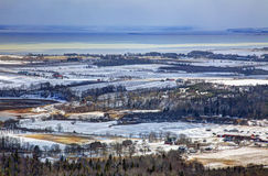Winter View of Various Farms. A view from above of different farms in winter Stock Photography