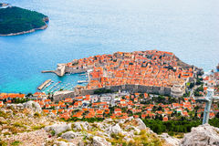 View from above and distance of Dubrovnik old city Stock Images