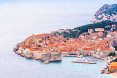 View from above and distance of Dubrovnik old city Stock Photo