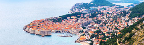 View from above and distance of Dubrovnik old city Stock Photos
