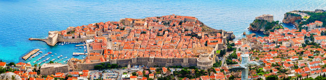 View from above and distance of Dubrovnik old city Royalty Free Stock Images