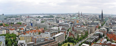 View above the district Newtown in Hamburg Stock Images