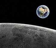 View above earth. View from moon, completely digital generated. Earth texture by NASA.gov stock illustration