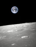 View above earth - elements of this image furnished by NASa. View from moon to our earth Stock Photography