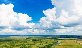 View above the earth on landmark down. Royalty Free Stock Images