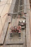 A view from above of an electric train with a red contact electrical supply network in Russia Royalty Free Stock Images