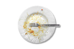 View from above on empty plate, dirty after the meal is finished Royalty Free Stock Photos