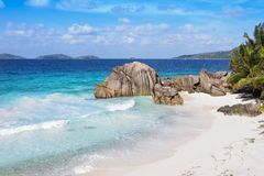 Famous beach La Digue Island, Seychelles royalty free stock photos