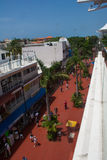 View above Fifth Avenue in Playa Del Carmen Mexico Royalty Free Stock Images