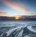 View from above of forest river in winter Royalty Free Stock Image