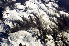 View is from above on French Alps. Large panoramic view is from above on French Alps Royalty Free Stock Images