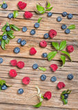 View from above of fresh berries on wooden table Royalty Free Stock Photography