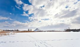 View above frozen lake in winter Stock Photos