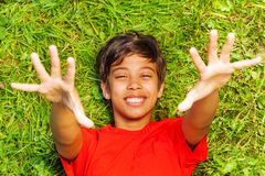 View from above of funny boy with hands up Stock Image