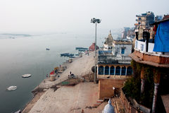 View from the above on the Ganges river bank and street life of Varanasi Royalty Free Stock Images