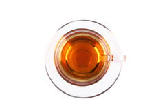 View from above on glass cup of tea Stock Photos