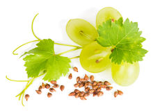 View from above of grapes and grape seeds Stock Photo