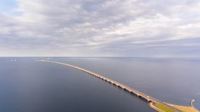 Aerrial view of Korsor Bridge. View from above of Great Belt in Denmark. Cloudy day stock photography