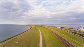 Aerrial view of Korsor Bridge. View from above of Great Belt in Denmark. Cloudy day stock image
