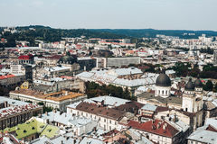 A view from above on the historical center of Lviv. The roofs of the old city..Roofs of Lviv, Ukraine Royalty Free Stock Photos