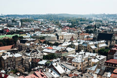 A view from above on the historical center of Lviv. The roofs of the old city..Roofs of Lviv, Ukraine Royalty Free Stock Photography