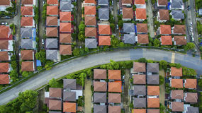 View from above of home village and town street in bangkok thailand Royalty Free Stock Image
