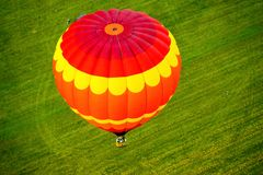 VIEW FROM ABOVE AN HOT AIR BALLOON stock photography