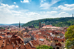 View from above of the houses with red-tiled roofs, spring, Prag royalty free stock photo