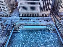 View from above of ice chunks on a blue colored Chicago River. Stock Photography