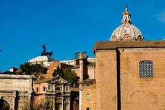 View from above of Imperial Forum in Rome with the background Pi Royalty Free Stock Photography