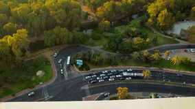 View from above on intersection in Tel Aviv. City traffic aerial view stock footage