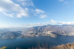 View from above of Lake Como. Panoramic view in winter of Lake C. Omo in Italy with the city of Cernobbio in evidence Royalty Free Stock Photo