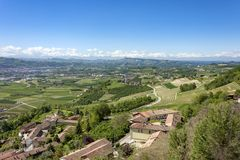 A view from above of the Langhe, seen by Guarene, Piedmont. royalty free stock image