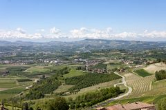 A view from above of the Langhe, seen by Guarene, Piedmont. stock images
