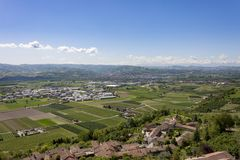 A view from above of the Langhe, seen by Guarene, Piedmont. stock photography