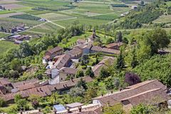 A view from above of the Langhe, seen by Guarene, Piedmont. The splendid vineyards of Langhe and Monferrato, in the Italian region of Piedmont, part of the royalty free stock images