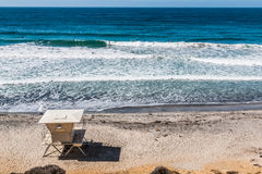 View From Above of Lifeguard Tower on Encinitas Beach Royalty Free Stock Image