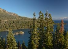 Looking Down at Emerald Bay in Lake Tahoe. A view from above looking down into Emerald Bay in Lake Tahoe, California stock images