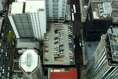 View from above looking down onto streets and rooftops royalty free stock images