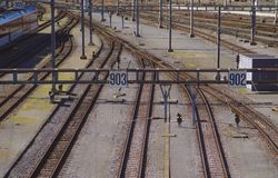 Railway tracks leading to the main station royalty free stock images