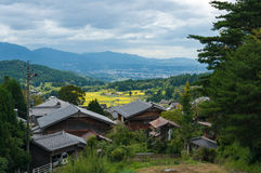 View from above on Magome postal town and rice farms Royalty Free Stock Image