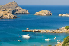 View from above of the main beach in Lindos Royalty Free Stock Photo